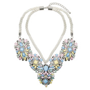 Adorning Ava Statement Beaded Collar Necklace Chunky Pastel Rope Rhinestone Jewel Silver