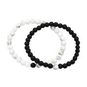 Couple Distance Bracelets for Lovers Black Matte Agate & White Howlite 2 Pcs