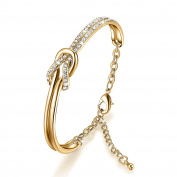 Clear Crystals Bracelet - NinaMaid Simple Knot Design Oval Shaped Gold Plated Bangle 18cm