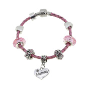 'Worlds Best Mummy' Leather Charm Bracelet Pandora Style Gift Boxed