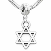 SEXY SPARKLES Women's Lucky Star Of David Charm Dangle Bead For Snake Chain Bracelets
