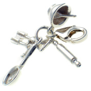 Welded Bliss Sterling 925 Silver 4 Piece Cook's Clip On Charm Pendant WBC1533