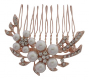 Pick A Gem Rose Gold Diamante and Pearl Set Flower Hair Comb / Bridal Hair Accessories