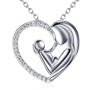 Mother and Daughter Son 925 Sterling Silver Necklace Pendant For Women Mum 46cm Chain, Mother's Day Gifts Jewellery