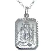 Rectangular Sterling Silver St Christopher Pendant and 46cm Chain with Jewellery Presentation Box