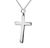 925 Solid Sterling Silver Plain Cross Pendant with a Sterling Silver Chain - A Gift of Love - Gift Boxed for the one you love