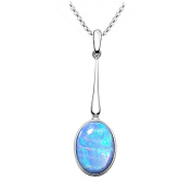 Blue Opal Drop Pendant, 925 Silver with a Vibrant Cultured Opal