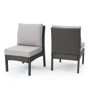 Maui Outdoor Wicker Armless Sectional Sofa Seat with Silver Water Resistant Cushions, Set of 2, Grey