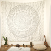 """Bohemian Décor Tapestry - Queen Size - 92x82"""" Indian Mandala Wall Hanging - Colourful - 100% Hand Printed Organic Cotton - by Mandala Life ART"""