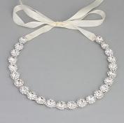 Ammei Bridal Headpiece Wedding Headband with Crystal and Ribbons Hair Jewellery