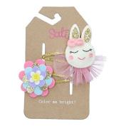 Sati Apple Fairy with Rabbit & Flower Hair Clips for Girls