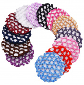 STHUAHE 13 PCS Ladies Handmade Knit Mesh Fabric Rhinestone Bun Cover Snood Hair Net hair Accessories For Ballet Dance Skating Sports and Daily Working