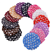 STHUAHE 13 PCS Ladies Handmade Knit Mesh Fabric Pearl Bun Cover Snood Hair Net hair Accessories For Ballet Dance Skating Sports and Daily Working