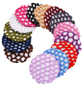 STHUAHE 14 PCS Women Handmade Knit Mesh Fabric Bun Cover Snood Hair Net hair Accessories For Ballet Dance Skating