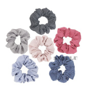 Plaid Women Hair Scrunchie Set, Set of 6 Scrunchies in Assorted Colours