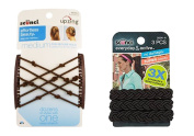 Scunci Double Combs Upzing Medium Black Or Dark Brown with Scunci Braided 3 Strands No Damage Elastics - Colours May Vary- 3 Ct