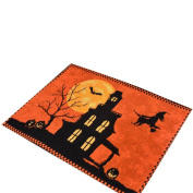 Zehui Halloween Table Runner Pumpkin Witch Bat Table Cover Tablecloth Placemat Desktop Home Decorations,33x46cm