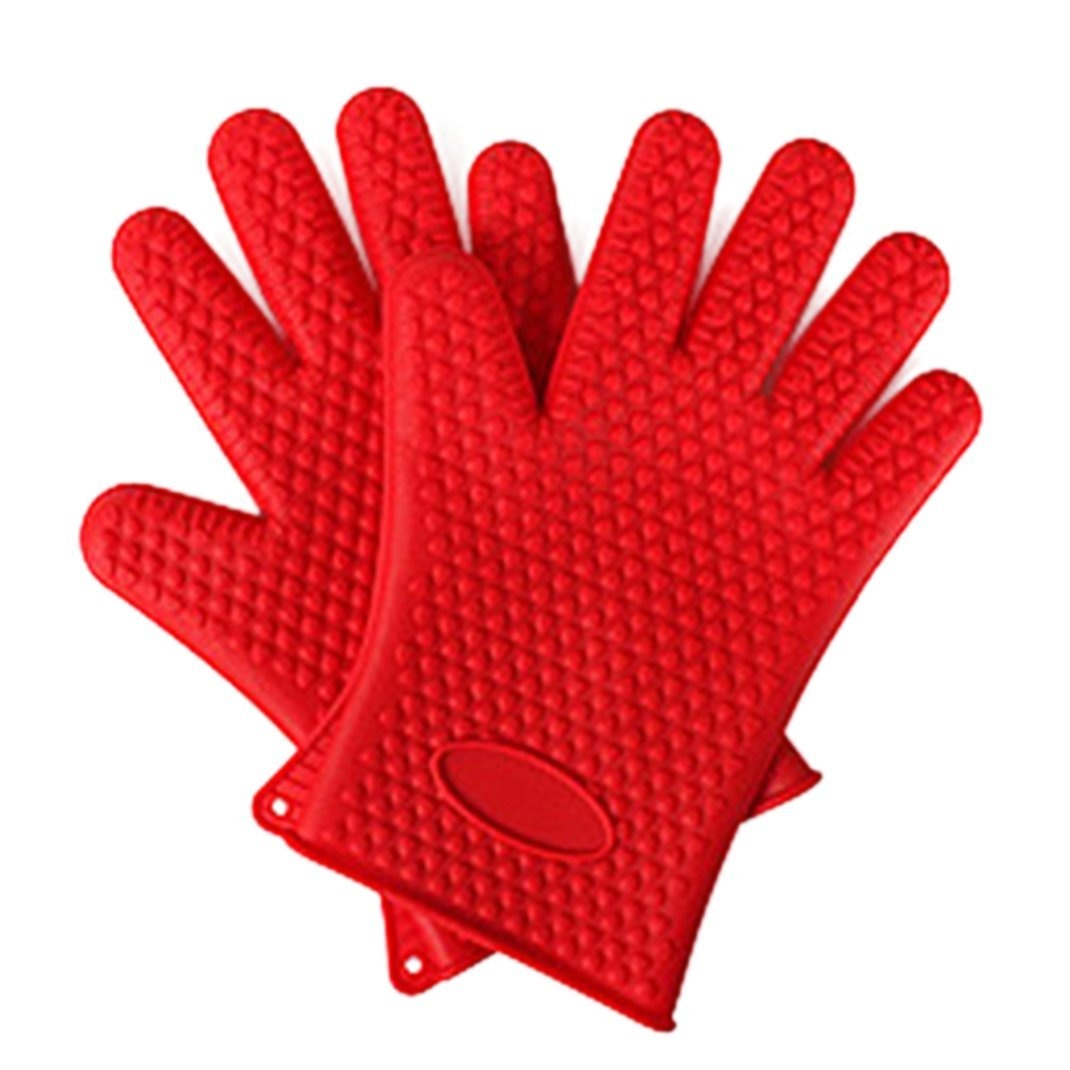 Red-Oven-Mitts-Silicone-Gloves-amp-Waterproof-Hands-Protection-Heat
