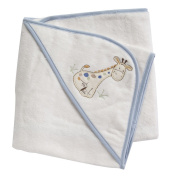 Velour Hooded Towel - 100% Cotton - with Light Blue coloured edging - Jungle Giraffe
