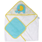Neat Solutions Single Applique Print Woven Terry Hooded Towel and Washcloth Set, Elephant
