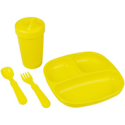 Re-Play Made in the USA Divided Plate, No Spill Sippy Cup, Utensil Set for Baby and Toddler - Yellow