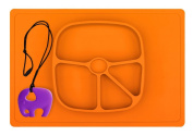 Baby placemat silicone - One-piece silicone placemat for Babies, Toddlers, Children, Kids + plate - Bowl Feeding – Choose Dinnerware all-in-one + Elephant Teether - Big placement Baby Bu