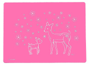 Little Bot Silky Silicone Placemat, Pink, Spring Deer, Silky Soft for Baby, Toddler, and Kids