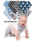 Baby Bandana Drool Bibs - 8 Gift Unisex Set - For Boys and Girls - Perfect for Newborns, Infants and Toodles - Organic Cotton Great for Drooling and Teething - Trend Colours - Best Shower Gift