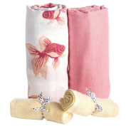 Organic Cotton Muslin Swaddle Blankets 2 Pack + Bonus Bamboo Washcloths 2 Pcs by BabyVoice