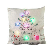 Botrong New Colour Lights Christmas Pillow Case LED Lights Pillow Cover Creative Printing Linen