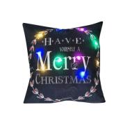 Botrong The New Colour Lights Christmas Pillow LED Lights Pillow Creative Printing Linen