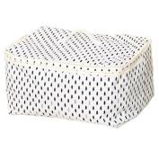 ShuZ White Linen Clothes Storage Bag, Folding Organiser Bag with Zipper and Handles