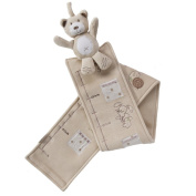 Plush Animal Growth Chart - 100% Cotton - Plush animal at top with hanging loop - Forest Teddy Neutral