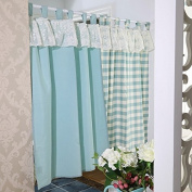 Modern Ruffle Window Curtains Valance Tier Pairs for Kitchen Café Bath Laundry Bedroom Sky Blue Set of 2