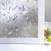 OMG_Shop Non-Adhesive Decorative Privacy Window Film for Home Office Glass Refraction Magnolia Flower-45x200cm