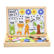 "deAO Portable Wooden Magnetic Drawing Board & Puzzle Jigsaw Set Double Sided Easel Toys ""Animals and Plants"""