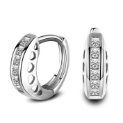 Skyllc® Men and Women Small Hoop Earrings Artificial Diamond Round Huggie Earrings Piercings