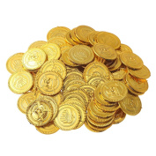 150 Pieces Play Money Coins for Kids | Golden Treasure for Pirates Party | Fake Artificial Money for Playing | Toys as Giveaway Gifts for Birthday Christmas
