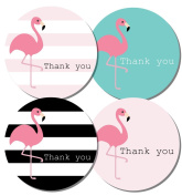Thank you stickers - 30mm or 60mm diameter - Flamingo designs - 4 designs per pack, great for parties, envelopes, gifts (48 stickers