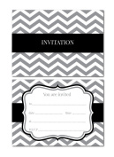 Party Invitations - Chevron design - 24 x A6 postcard size cards - suitable for any celebrations! (Black