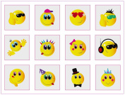 12 Mini Smiley Face Temporary Tattoos Boys Girls Party Bag & Stocking Fillers by Party Accessories