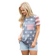 Hot ! New Fashion Womens Print American Flag Blouse, Ninasill Exclusive Short Sleeve Tops Blouse T-Shirt Tee