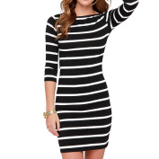 Arich Women Bodycon Summer Striped Sexy Dress 3/4 Sleeve Casual Knee Length
