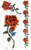 MapofBeauty Red Rose Waterproof Temporary Tattoo Sticker