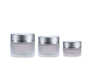 4PCS 15ml/30ml/50ml Frosted Glass Refillable Cosmetic Jars Pot Bottles for Makeup Cream Facial Mask Lotion Container