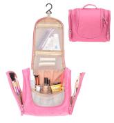 Waterproof Hanging Toiletry Bag,Portable Travel Cosmetic Makeup Bag Travel Kit Organiser Bag Rose