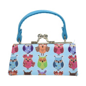 Owl Lipstick Case with Handle Kids Coin Mini Purse - Blue