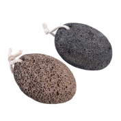 Pretty See Pumice Stones Natural Callus Remover Foot Scrubber for Removing Dead Skin and Softening Body, Brown and Black, 2 Pcs