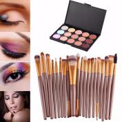 Fullkang 15 Colours Contour Face Cream Makeup Concealer Palette Professional + 20 Brushes