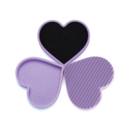 Wet and Dry Makeup Brush Cleaning Mat with Cleaner Sponge Tools Kit Heart Shaped Silicone Cosmetic Brush Cleaner Pad Set Lilac